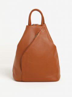 Hnědý dámský kožený batoh KARA