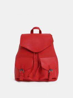 Červený dámský koženkový batoh s kapsičkami Pieces Tyler