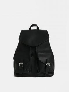 Černý dámský koženkový batoh s kapsičkami Pieces Tyler