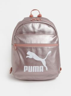 Světle růžový koženkový metalický batoh s potiskem Puma 10 l