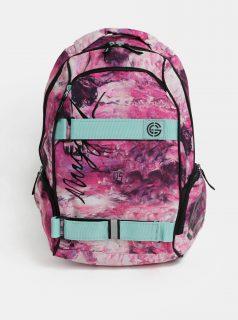 Růžový vzorovaný batoh s mentolovými detaily Nugget 25 l