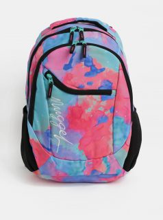 Modro-růžový vzorovaný batoh s výšivkou Nugget 26 l