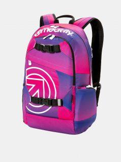 Fialovo-růžový batoh s potiskem a penálem 2v1 Meatfly 20 l