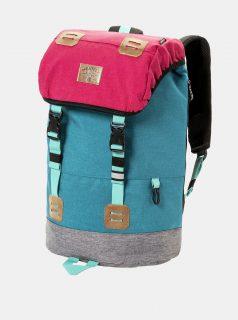 Tyrkysovo-růžový batoh s koženkovými detaily a pláštěnkou Meatfly 26 l