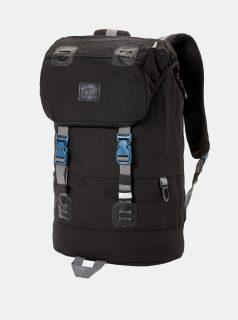 Černý batoh a koženkovými detaily a pláštěnkou Meatfly 26 l