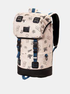 Béžový batoh s koženkovými detaily a pláštěnkou Meatfly 26 l