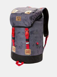 Tmavě šedý batoh s koženkovými detaily a pláštěnkou Meatfly 26 l