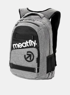 Šedý žíhaný batoh s penálem 2v1 Meatfly 22 l