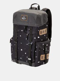 Černý vzorovaný batoh s koženkovými detaily Meatfly 30 l