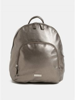Koženkový batoh s přední kapsou ve stříbrné barvě s metalickými odlesky ZOOT