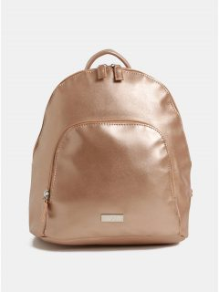Růžovozlatý koženkový batoh s metalickými odlesky a přední kapsou ZOOT