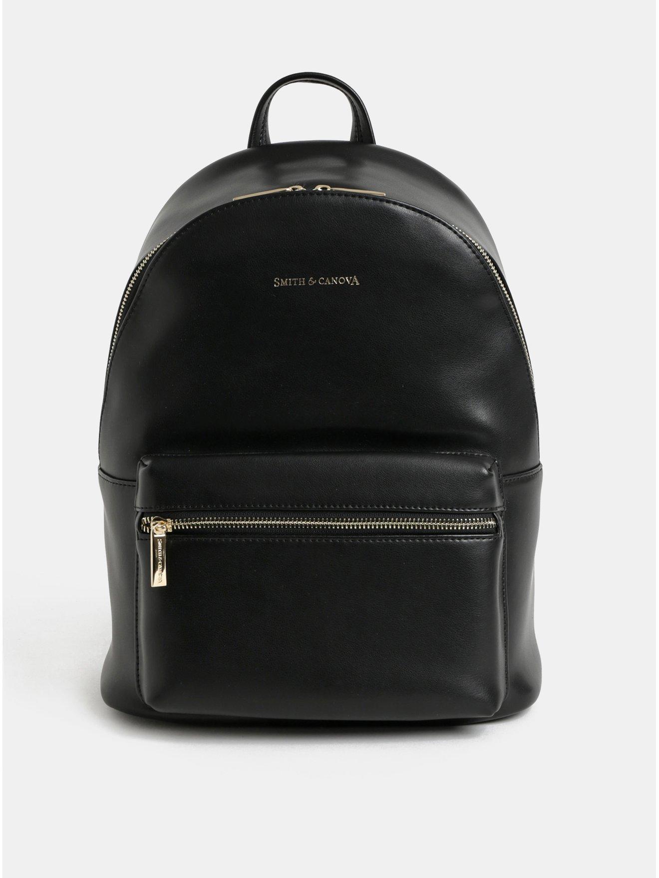 Černý kožený elegantní batoh Smith   Canova - Batohy c8a5d86ea4