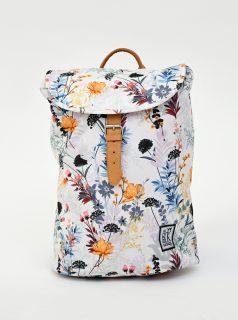 Bílý dámský květovaný batoh The Pack Society