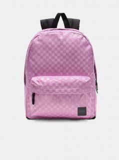 Růžový dámský kostkovaný batoh VANS