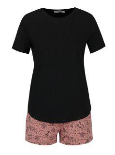 Růžovo-černé pyžamo s vánočním potiskem Pieces Cammi