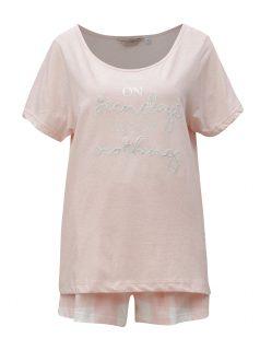 Světle růžové pyžamo s výšivkou Dorothy Perkins
