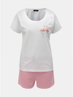 Růžovo-bílé dámské krátké pyžamo s motivem plameňáků ZOOT
