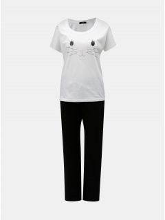 Černo-bílé dámské pyžamo s motivem kočky ZOOT