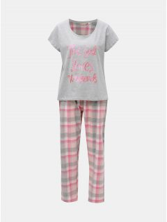 Šedo-růžové dvoudílné pyžamo s třpytivým nápisem Dorothy Perkins