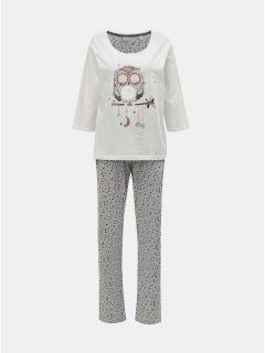 Šedo-krémové dvoudílné pyžamo s motivem sovy Dorothy Perkins