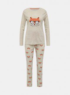 Béžové vzorované dvoudílné pyžamo M&Co