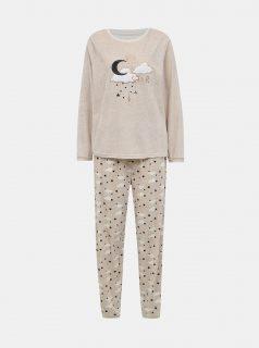 Béžové žíhané dvoudílné pyžamo M&Co