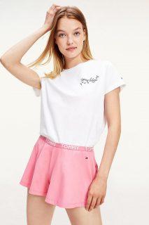 Tommy Hilfiger bílo-růžové dámské pyžamo SS Short set