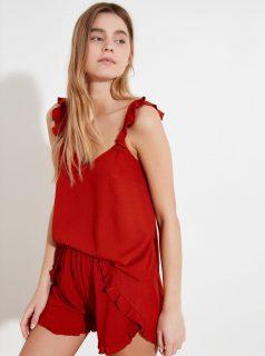 Červené dámské puntíkované pyžamo Trendyol
