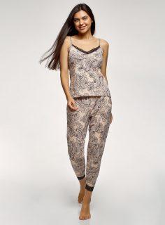 Pyžamo bavlněné lemované krajkou OODJI