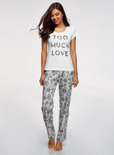 Pyžamo bavlněné s kalhotami OODJI