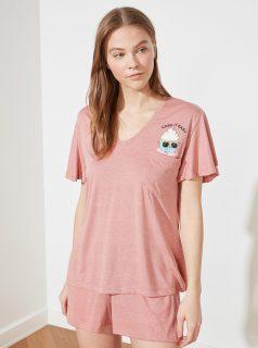 Růžové dámské pyžamo s potiskem Trendyol