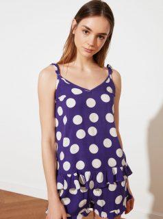 Fialové dámské puntíkované pyžamo Trendyol
