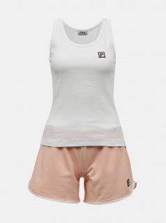 Oranžovo-bílé dámské krátké pyžamo FILA