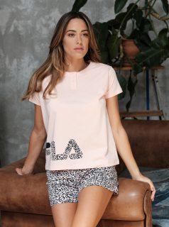 Šedo-růžové dámské vzorované krátké pyžamo FILA