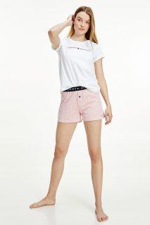 Tommy Hilfiger bílo-růžové dámské pyžamo SS Short set s logem