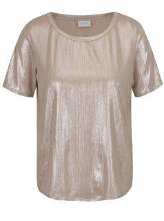 Tričko v béžovozlaté barvě s krátkým rukávem VILA Rittes