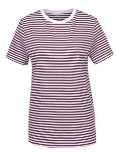 Krémovo-vínové pruhované tričko Selected Femme My Perfect