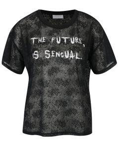 Černé tričko s potiskem VILA Utti