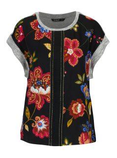 Černé květované tričko Desigual Combinada