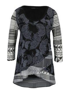 Šedo-černé vzorované tričko s 3/4 rukávy Desigual Repeto