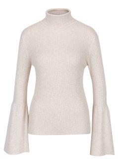 Krémové žíhané žebrované tričko s rolákem ONLY Alma