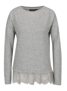 Šedé dámské žíhané tričko s krajkovým lemem Broadway Sylvi