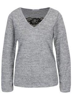 Šedé žíhané tričko s krajkou Haily´s Saphira