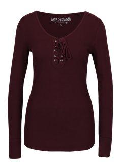 Vínové žebrované tričko se šněrováním v dekoltu Haily´s Britta