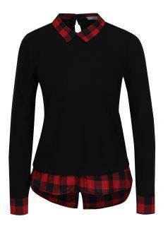Červeno-černé tričko s límečkem Haily´s Tubi