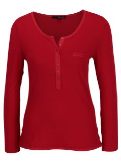 Červené tričko s knoflíky a dlouhým rukávem TALLY WEiJL