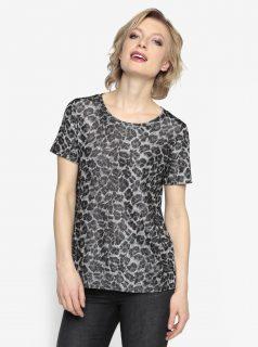 Vzorované tričko v černé a stříbrné barvě Oasis Animal
