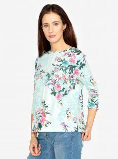 Mentolové květované tričko s 3/4 rukávem M&Co