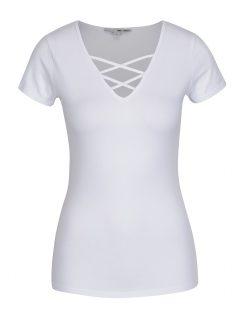 Bílé tričko se šněrováním v dekoltu TALLY WEiJL