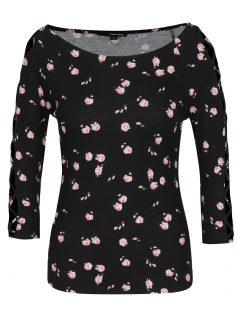Černé květované tričko se šněrováním na rukávech TALLY WEiJL